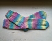 Hand Knit Soft And Warm Acrylic Yarn Women's Socks, Size  8.5  - 9  (9.75 inches length) Color Candy