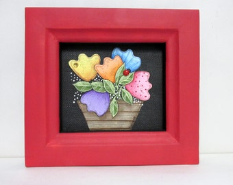 Folk Art Tulips, Colorful Tulips in Basket, Yellow Bumble Bee, Spring Time Flowers, Tole or Hand Painted, Reclaimed Wood Frame, Red Frame