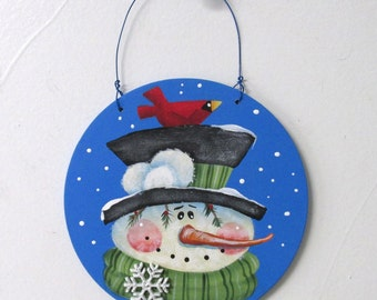 Red Cardinal and Folk Art Snowman, Round Wood Ornament, Red Cardinal, Hand Painted, Hanging Ornament, Neighbor Gift, Winter Snowman Scene