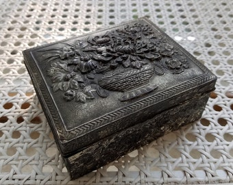 Vintage Silver Jewelry Box With Embossed Metal High Relief Flowers & Dark Patina, Trinket Snuff Stash Box, Made in Japan