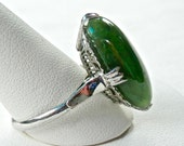 RESERVED Art Deco Ring, Jade Ring, Art Deco Sterling, Cocktail Ring, Silver Art Deco, Antique Ring, Vintage Jewelry