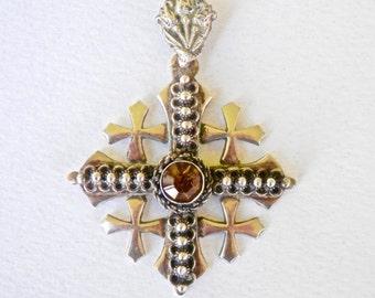 Vintage Cross Jerusalem Cross Quartz Israel Silver 900 Silver Mid Eastern Jewelry