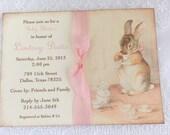 Bunny Tea Party Invitations Baby Shower Birthday Party Blush Ribbon Printed Set of 10