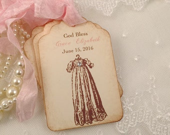 Christening Tags Baptism Favor Gift Tags Pink Set of 10
