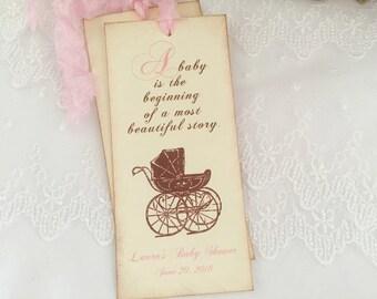 Girl Storybook Favors Bookmarks Pink Baby Shower Carriage Pram Set of 10