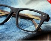Sale - 40%off lage size wood grian acetate glasses square prescription RX eyeglasses