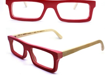 customize TAKEMOTO TAKE handmade  square  red bamboo  prescription eyeglasses  MJX1201 C0501