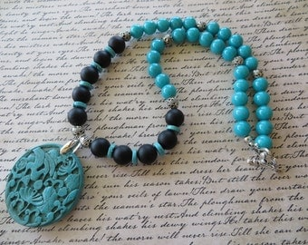 Matte Onyx Blue Agate and Silver Beaded Necklace With Carved Turquoise Pendant