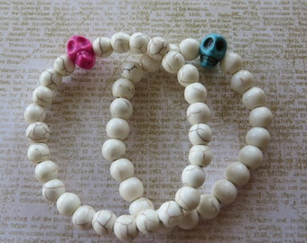 His/Hers Matching Stretch Howlite Skull And White Howlite Bead Bracelets