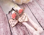 Rustic Chic Wedding Cake Server And Knife Set, Cream and Light Coral, Personalized Wood Hearts, Bridal Shower Gift, Wedding Gift