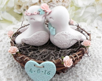 Rustic Love Bird Wedding Cake Topper - Peach, Beige and Mint Green, Love Birds in Nest - Personalized Heart
