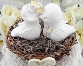 Rustic Love Bird Wedding Cake Topper, White, Pale Yellow and Beige, Love Birds in Nest , Personalized Heart