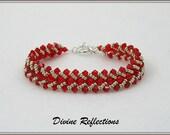 Red Swarovski Crystal Bracelet,Red Flat Spiral Bracelet,Red Bead Woven Bracelet Flat Spiral Woven Bracelet,Red Bracelet,Red Crystal Bracelet
