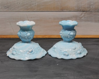 Slag Rose Patterned Candle Stick Holders by Fenton, Blue and White, Cabbage Rose