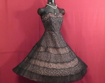 Vintage 1950's 50s Black Illusion Organza Lace Taffeta Party Prom DRESS Gown Medium Size