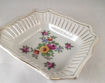 Vintage Mikori Ware Square Hand-Painted Dish