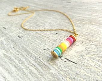 Peace Necklace - rainbow gradient stack pendant - simple long narrow cylinder - colorful hippie love rainy day charm - gold delicate chain