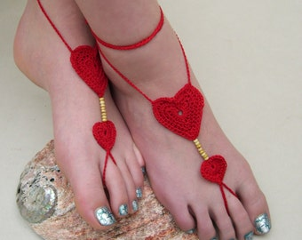 Crochet Barefoot sandals, Red heart barefoot sandles, foot jewelry, Beach wedding, Bridesmaid gift, Beach anklet, summer wedding shoes
