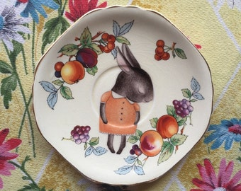 Shy Bunny with Fruits Vintage Illustrated Plate