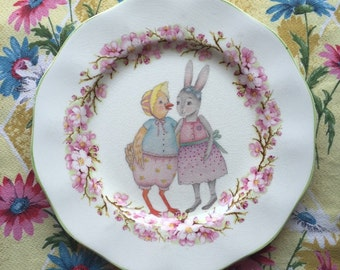 Baby Bunny and Chicky with Pink Cherry Blossom Floral Illustrated Large Plate