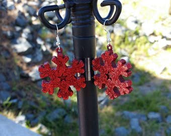Glitter Snowflakes - Large Red Repurposed Ornament Earrings - Snowflake Earrings, winter holiday, christmas party jewelry