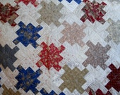 Lap Throw or Crib Quilt with Brown, Maroon, Cream Flowers and Leaves
