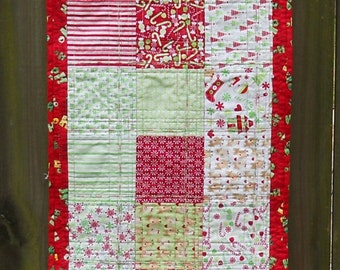 Christmas Table Runner Holiday Table Runner Christmas Centerpiece Table Topper Green and Red White Candy Canes Peppermints Reindeer Quilted