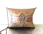 vintage deco box purse - 1960s brass metal clutch purse