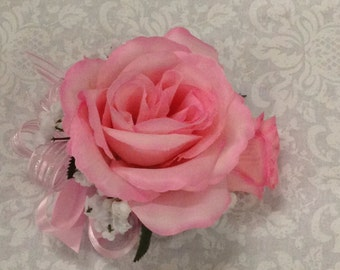 New Artificial Pink Rose Corsage, Pink Rose Mother's Corsage, Pink Corsage