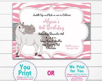 Horse birthday invitation -- horseback riding party --  stallion -  girls birthday -- You  print or I print