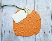 Pumpkin Gift Tags Thanksgiving Autumn Place Cards Hostess Tag Fall Embossed Pumpkins