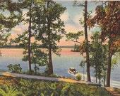 Lake Hamilton Hot Springs National Park Boating - Vintage Linen Postcard - Arkansas Lake Decor