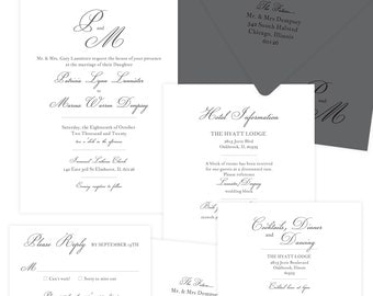 Forever Love Charcoal wedding invitation suite; SAMPLE ONLY