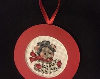PERSONALIZED Christmas Carole Singer Cross Stitch Ornament
