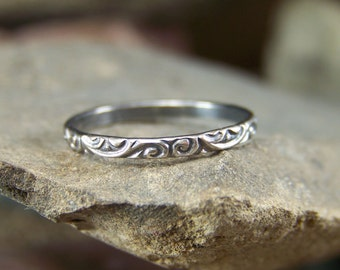 Simple Stacking 2mm Swirls Patterned Sterling Silver Stacking Band Sizes 4-10 US