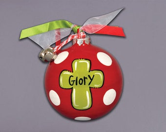 Glory Cross Ceramic Ball ornament with ribbons & bells attachments