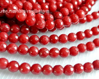 10% off Red jade beads Full strands, Gemstone stone beads in 6mm,