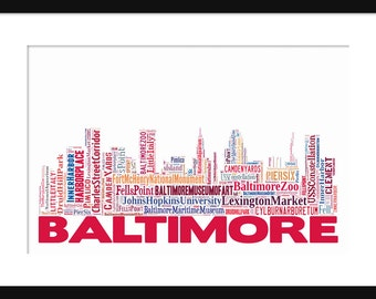 Baltimore Skyline Word Art Typography Print Poster Map Color With Title