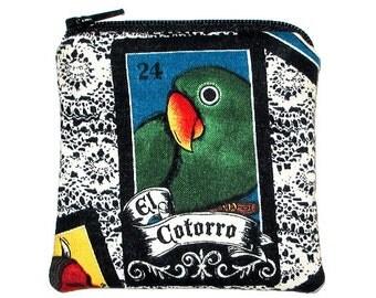 The Parrot Mini Zipper Pouch Loteria El Cotorro Coin Purse - 20% 0ff Shop Closing Sale