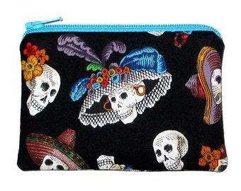 SALE - Day of the Dead Skulls La Catrina Black Small Zipper Pouch Coin Purse