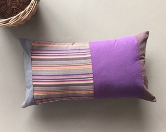purple, brown and grey lumbar pillow - striped patchwork cushion cover - modern bedroom decor 12x20 inches - masculine accent lumbar pillow