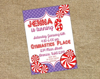 Peppermint Purple Birthday Baby Shower Invitation