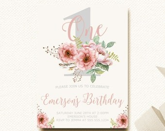 Floral Birthday Invitation Boho Flower Girls First Birthday Invite Rustic Birthday Watercolor Invitation Natural