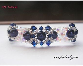 Beaded Bracelet Tutorial Pattern - Crystal Blue Pearl Bracelet (BB037) - Beading Jewelry PDF Tutorial (Instant Download)
