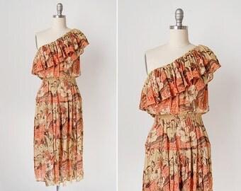 vintage 1970s dress / one shoulder dress / 70s hawaiian dress / Waimea dress