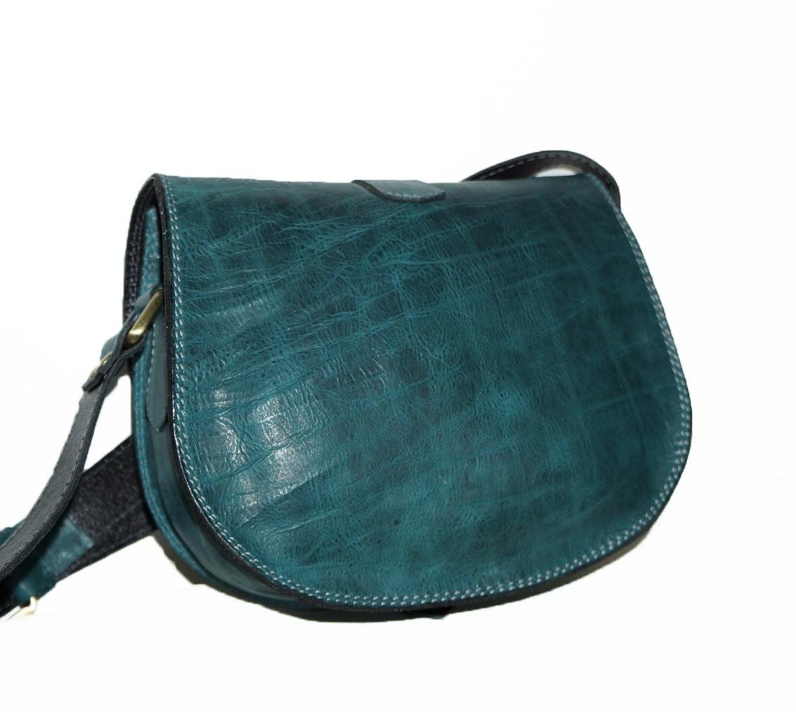 Dhl Phone Number Usa >> Teal Blue Leather Saddle Bag Messenger Cross-body Purse