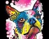 Boston Terrier Dog Print UNISEX Blacklight Top t T Shirt Neon Florescent Dog Print Free Shipping to USA19036NBT4