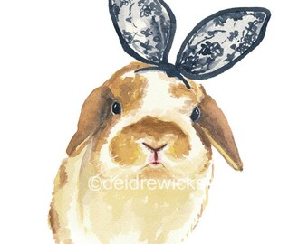 Rabbit Watercolor PRINT - Bunny Rabbit, Rabbit Ears, Nursery Art, 5x7 Art Print