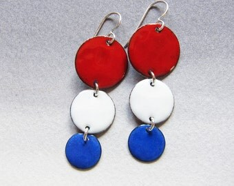 Red white and blue dangle earrings Enamel drop earrings Patriotic disc earrings Unique July 4th jewelry
