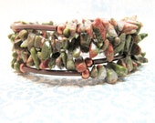 Beaded Copper Memory Wire Bracelet, Forest Green and Clay Red Unakite Beaded Wrap Bracelet, Copper Beaded Bracelet